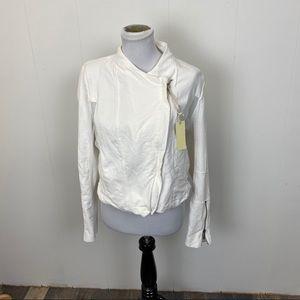 Blank NYC White Denim Mesh Detail Crepe Jacket